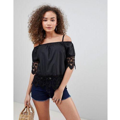 QED London Off Shoulder Crochet Top - Black, 1 rozmiar