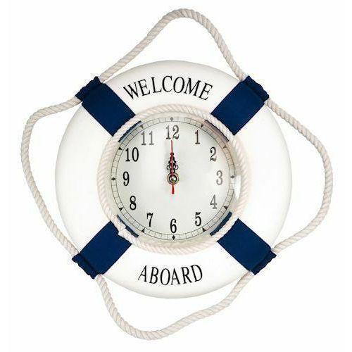 Koło ratunkowe zegar ścienny niebieskie pasy, dekoracja Life buoy blue, L 50 cm