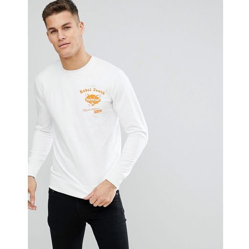 sweatshirt with rebel youth front and back print - white, Only & sons, S-XL