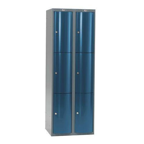 Metalowa szafa ubraniowa CURVE, 2x3 drzwi, 1740x600x550 mm, niebieski