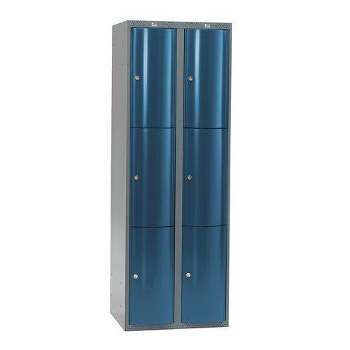 Szafa szatniowa Curve 2 sekcje 6 drzwi 1740x600x550 mm niebieski metali