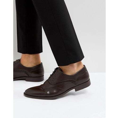 ASOS Brogue Shoes In Brown Faux Leather With Layered Paneling - Black