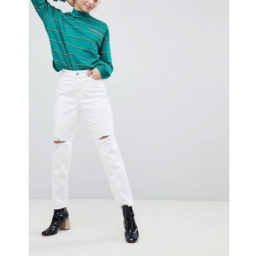 Monki Taiki Distressed White High Waist Mom Jeans - White, kolor biały