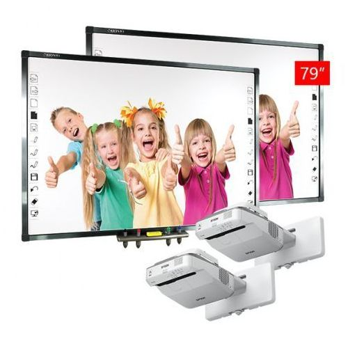 ZESTAW: 2 x Qomo QWB379BW + projektor ultrakrótkoognikskowy EPSON EB670 - AKTYWNA TABLICA
