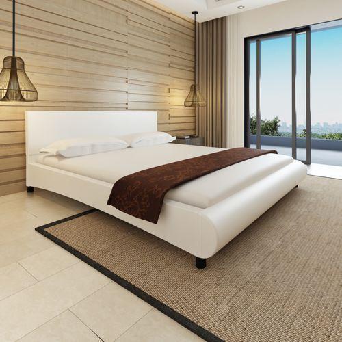 Vidaxl  rama łóżka z zaokrąglonym podnóżkiem 180 x 200 cm biała sztuczna skóra