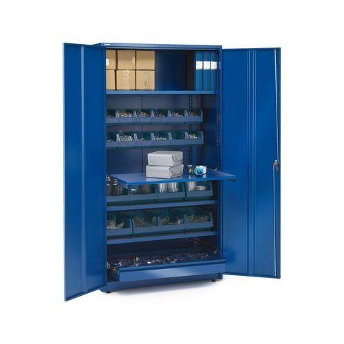 Szafa warsztatowa supply, z wyposażeniem, zamykana na klucz, 1900x1020x500 mm, niebieski marki Aj produkty