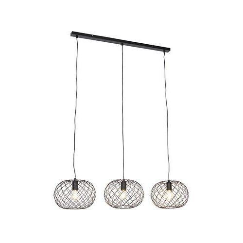 Designerska lampa wisząca czarna 3-punktowa - helian marki Honsel