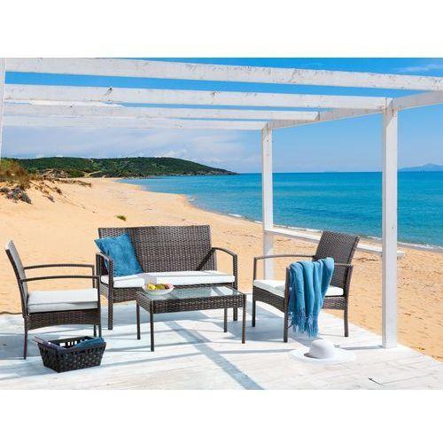 Beliani Meble ogrodowe - rattanowe - stół + ławka + 2 krzesła - marsala