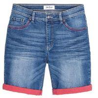Bermudy dżinsowe ze stretchem i kontrastowym wywinięciem Slim Fit bonprix niebieski, jeans