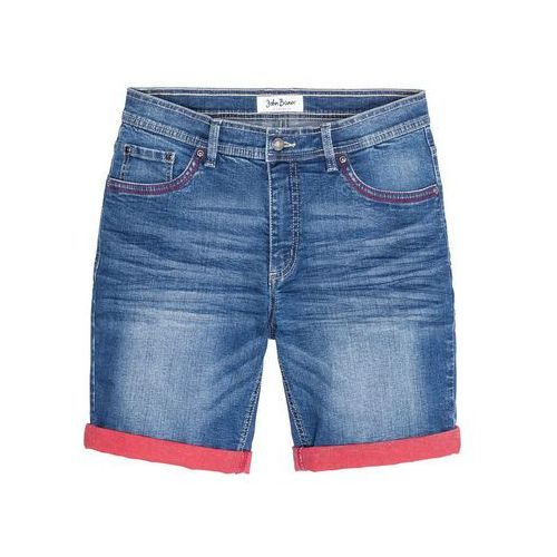 Bermudy dżinsowe ze stretchem i kontrastowym wywinięciem Slim Fit bonprix niebieski, bawełna