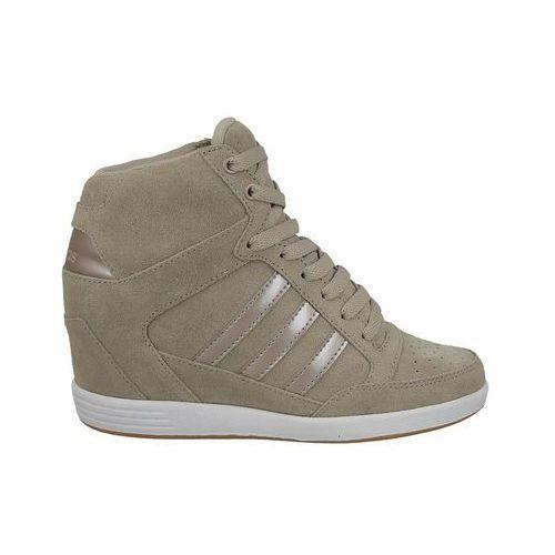 Buty na koturnie super wedge aw3966 - beżowy/kremowy ||brązowy marki Adidas