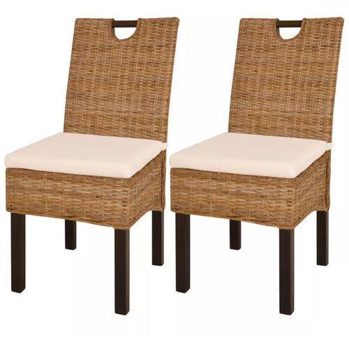 Vidaxl Krzesła do jadalni z kubu rattanu, drewno mangowe, 2 sztuki