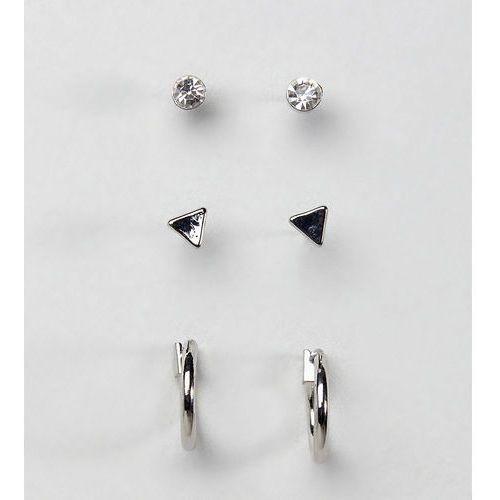DesignB Stud & Hoop Earrings In Silver Exclusive To ASOS - Silver, kolor szary