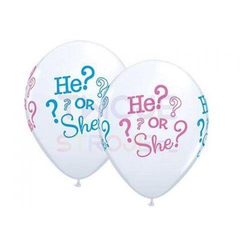 Balon biały he? or she? 28cm 1szt marki Twojestroje.pl