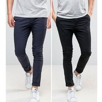 ASOS DESIGN 2 Pack Super Skinny Chinos in Black & Navy SAVE - Multi, chinosy