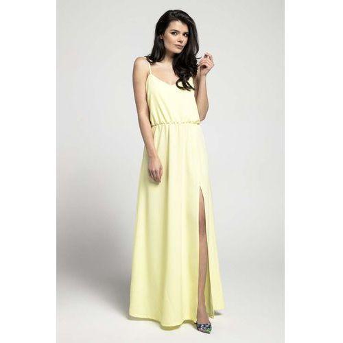 2be4bdbd3a Żółta zwiewna maxi sukienka na cienkich ramiączkach z rozcięciem