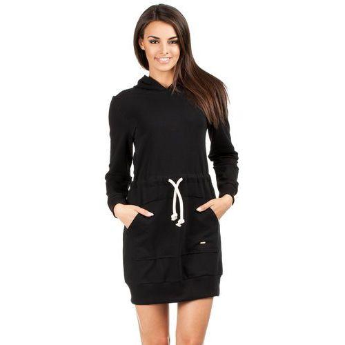 Moe Dresowa mini sukienka z kapturem 116 czarna
