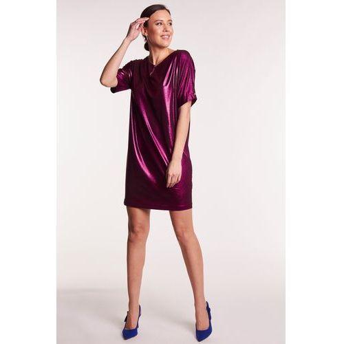 63bb599616 Fioletowa sukienka z metalicznym połyski.