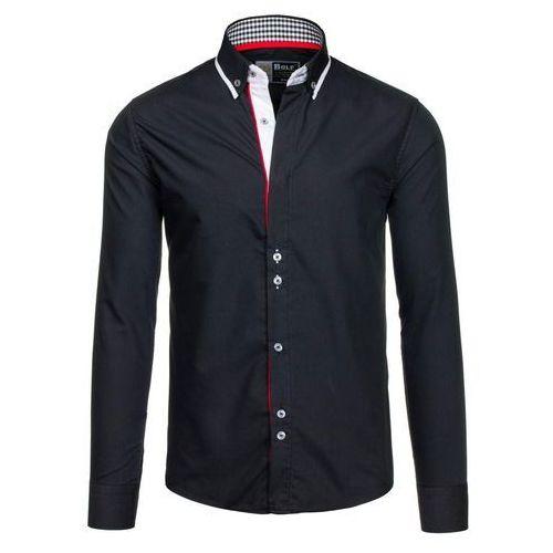 Czarna koszula męska elegancka z długim rękawem Bolf 6857 - CZARNY, kolor czarny