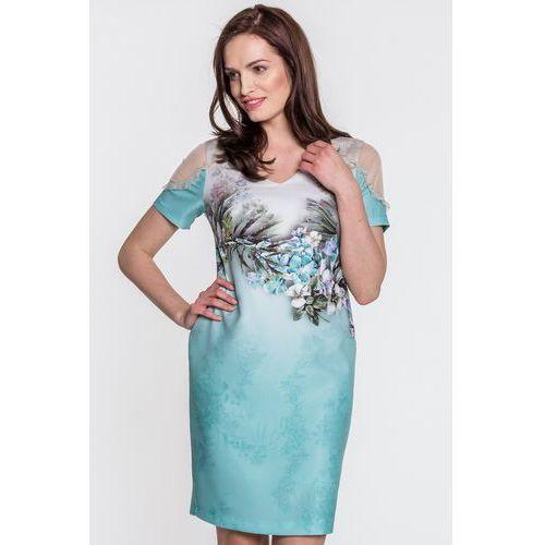 Zielona sukienka z kwiatowym motywem - Margo Collection, 1 rozmiar
