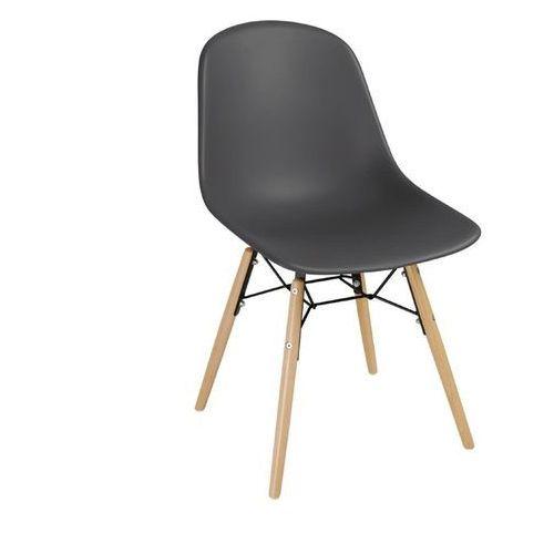 Krzesła polipropylenowe | grafitowe | drewniane nogi | 2 szt.