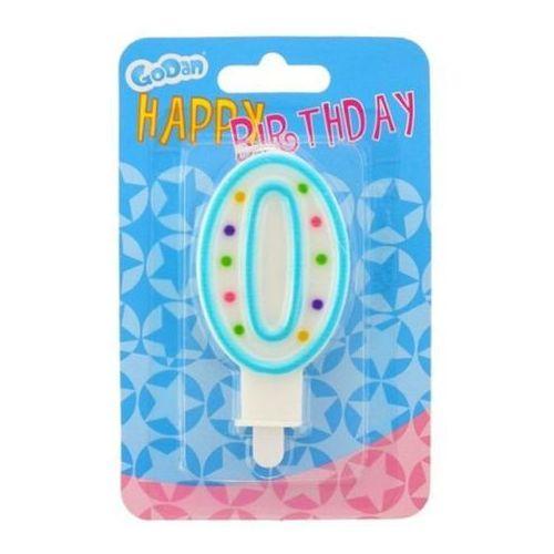 Świeczka urodzinowa cyferka 0 z kropeczkami
