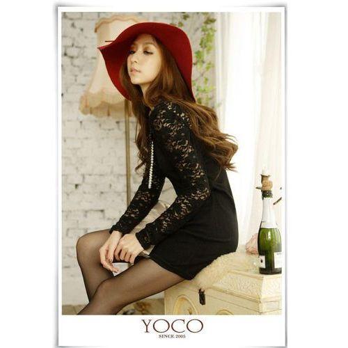 Czarna Stylowa Mini Sukienka z Koronkowym Długim Rękawem