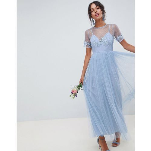 design bridesmaid lace and dobby cami bodice maxi dress - blue, Asos