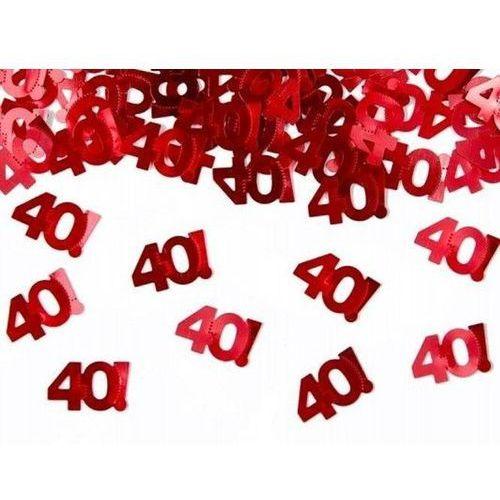 Twojestroje.pl Konfetti metalizowane urodzinowe liczba [40] czerwone 15g (5901157454409)