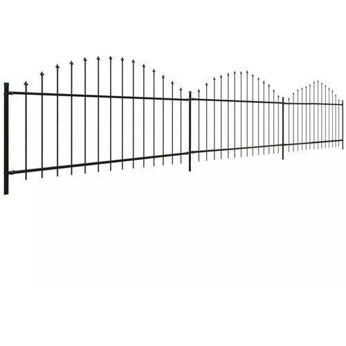 panele ogrodzeniowe z grotami (0,5-0,75) x 6 m, stalowe, czarne marki Vidaxl