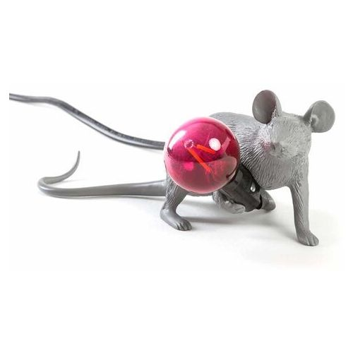 MOUSE-Lampa stojąca Mysz leżąca Żywica Wys.8,1cm, kolor Szary