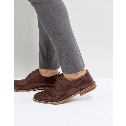 Asos oxford brogue shoes in brown leather with perforated detail - brown