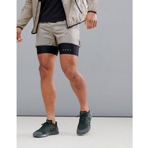 2 in 1 running shorts in super lightweight fabric in beige - beige marki Asos 4505