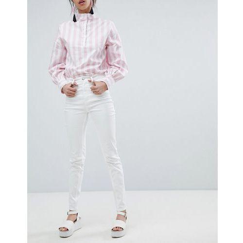 Monki Oki High Waist Skinny Jeans - White, kolor biały