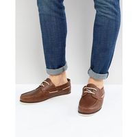 River island leather boat shoe in tan - tan