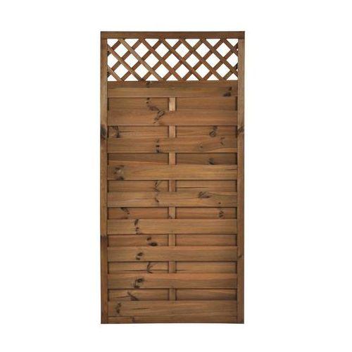 Płot szczelny z kratką 90x180 cm drewniany NIVE NATERIAL (5901171178695)