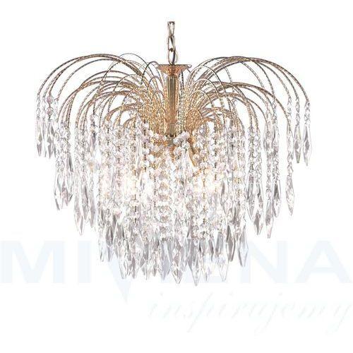 Searchlight Waterfall lampa wisząca 5 złoty kryształ