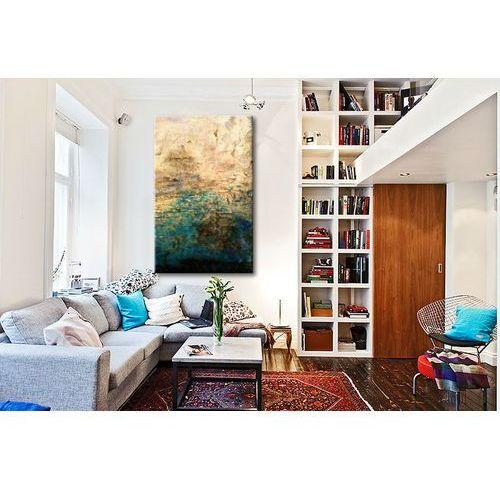 turkus i złoto - abstrakcja- 80x170cm
