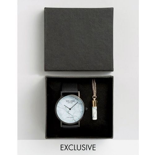 Reclaimed Vintage Inspired Marble Black Watch And Marble Pendant Gift Set - Black