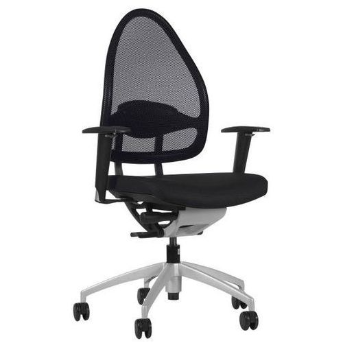 Efektowne obrotowe krzesło biurowe, z oparciem siatkowym, oparcie 550 mm, czarny marki Topstar