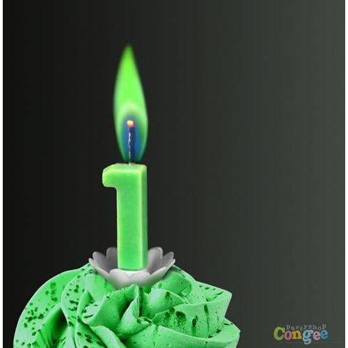 """Świeczka cyferka jedynka """"1"""" z zielonym płomieniem - 1 szt."""