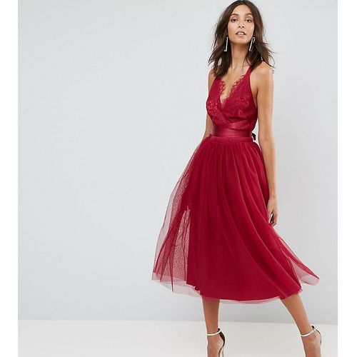 ASOS TALL PREMIUM Lace Top Tulle Midi Prom Dress with Ribbon Ties - Pink, kolor różowy