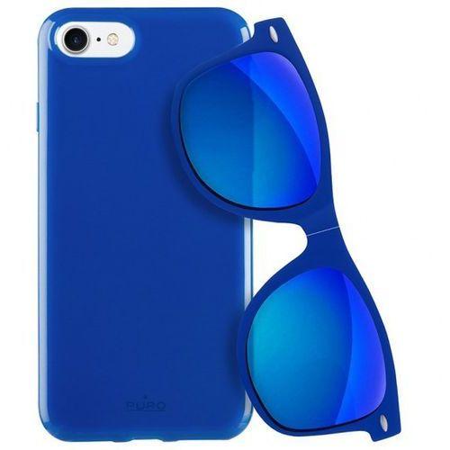 Puro  sunny kit - zestaw etui iphone 7 + składane okulary przeciwsłoneczne (niebieski) (8033830186646)