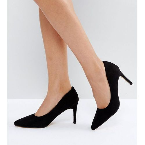 Truffle collection wide fit pop heel court shoe - black