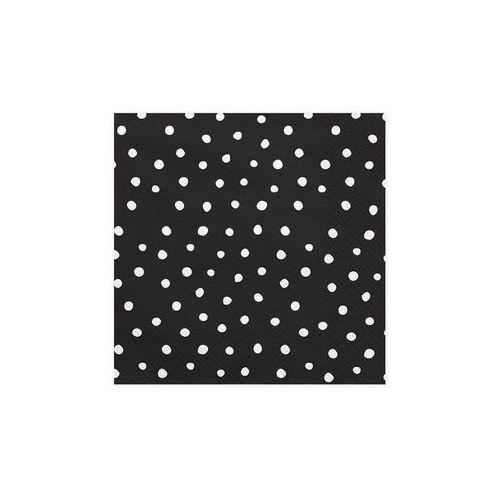 Serwetki urodzinowe czarne w białe duże kropki - 33 cm - 20 szt.