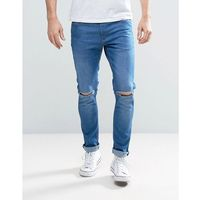 skinny jeans with knee slash in light wash - blue, River island
