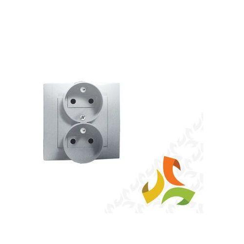 Gniazdo podwójne z/u z funkcją niezmienności faz, 16A, 250V, zaciski śrubowe, aluminium metalik Kompletne 1591453-026 SIMON 15, 1591453-026/KON