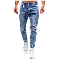 Spodnie jeansowe joggery męskie niebieskie Denley 2057, jeans