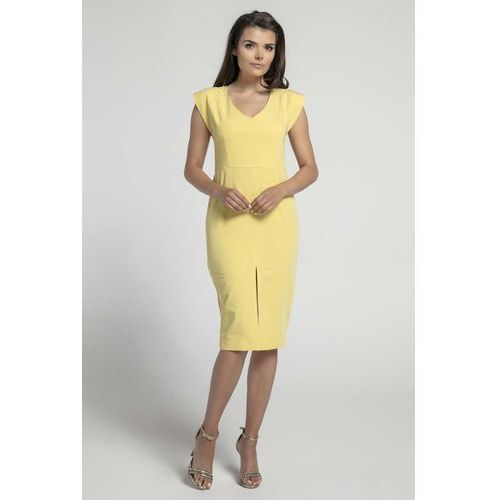 Żółta Elegancka Dopasowana Sukienka z Ozdobną Aplikacją, NA571ye