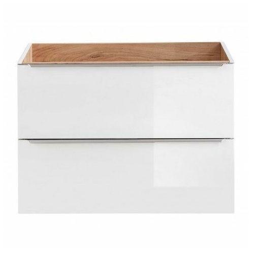 Podwieszana szafka łazienkowa pod umywalkę - Malta 3X Biały połysk 80 cm, CAPRI-WHITE-821B